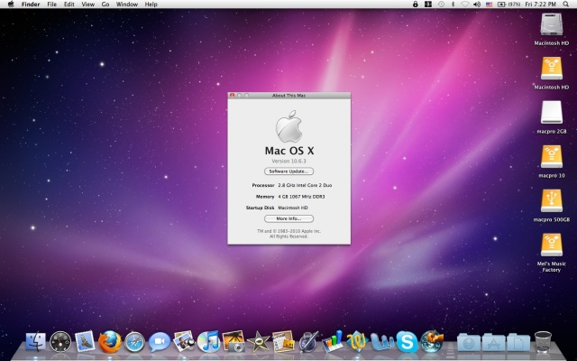 Mac OSX Snow Leopard version 10.6.3